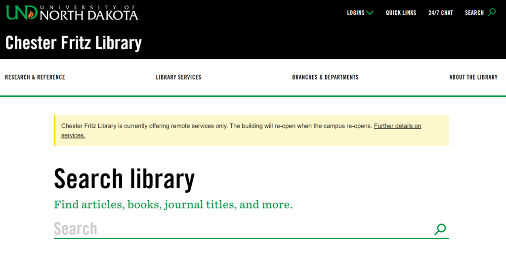 Screenshot of the Chester Fritz Library homepage.