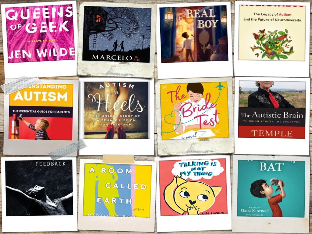 Collage of books focused on autistic people and characters.