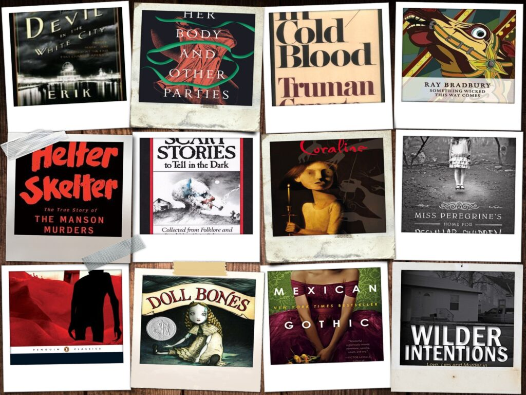 Collage of all horror book covers included in book post.
