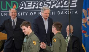 U.S. Senator from North Dakota joins military and University leaders to celebrate return of valuable flight program