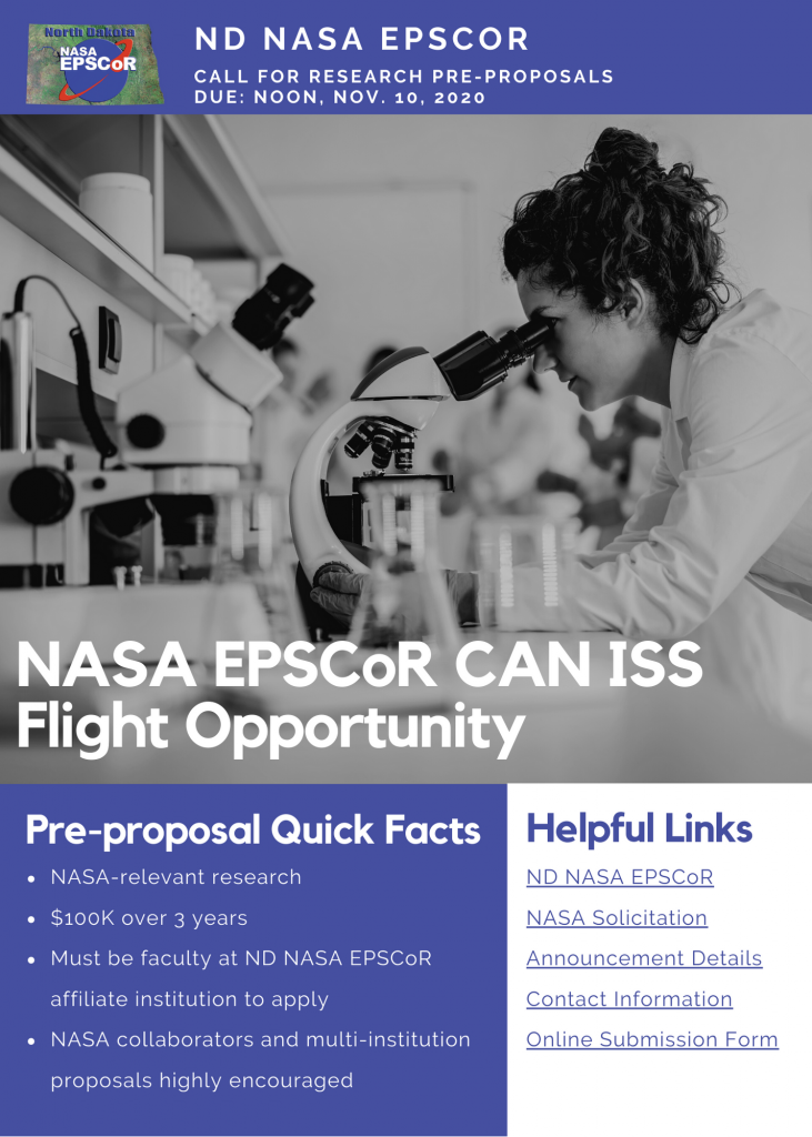 ND NASA EPSCoR Research Request for Pre-Proposals – NASA EPSCoR ISS CAN