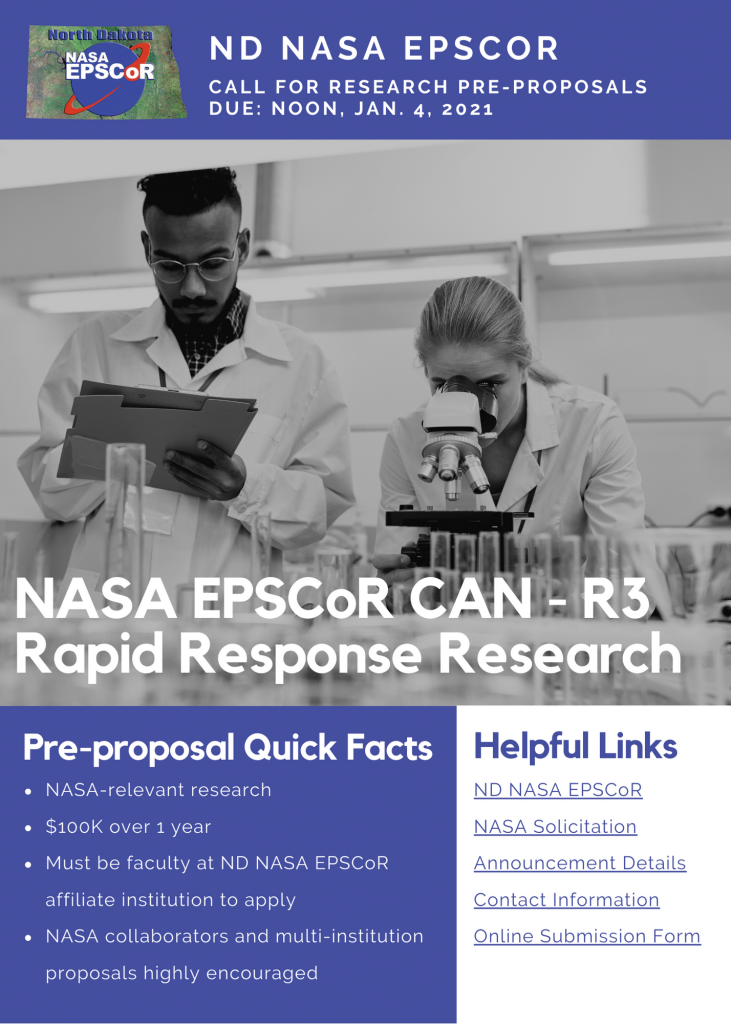 ND NASA EPSCoR Request for Pre-Proposals – NASA EPSCoR R3 CAN