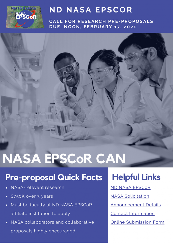 ND NASA EPSCoR Request for Pre-Proposals – NASA EPSCoR CAN