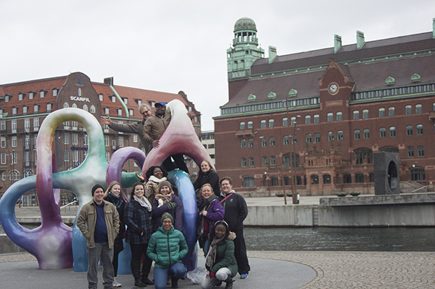 Eleven UND social work students traveled abroad to Sweden in February to learn more about the country's social and welfare policies. They had the opportunity to work alongside students from across Europe. Submitted photo.