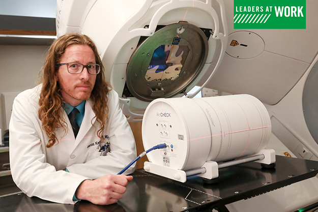 UND Alum Aaron Kempenich, an oncological physicist, works at Altru's Cancer Center with advanced cancer-fighting technologies. Photo by Jackie Lorentz/UND Today.