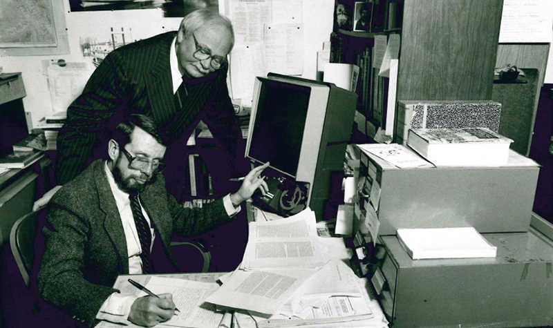 Richard Beringer (seated) and the late D. Jerome Tweton were both named Chester Fritz Distinguished Professors of History
