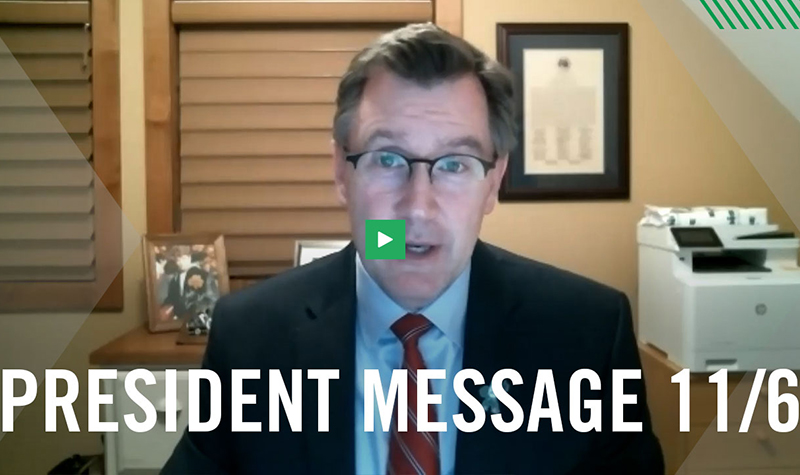 President's video and message touch on COVID, cohesiveness and civility