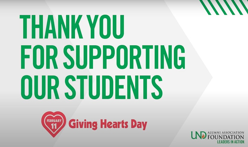 UND Alumni Foundation raises $160,000, delivers more than 55 Giving Hearts Day Scholarships
